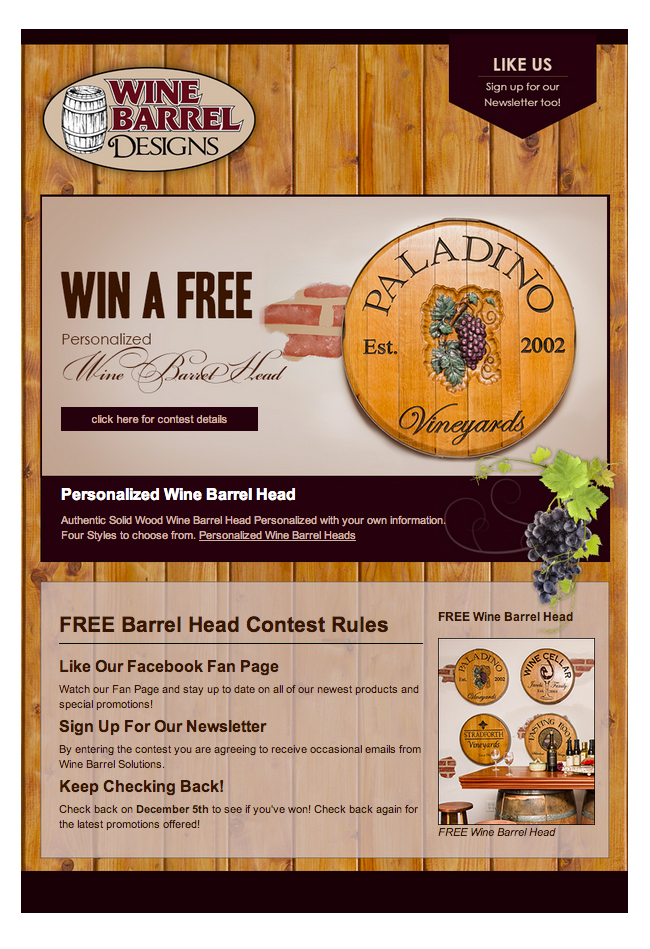 Wine Barrel Designs Facebook Contest
