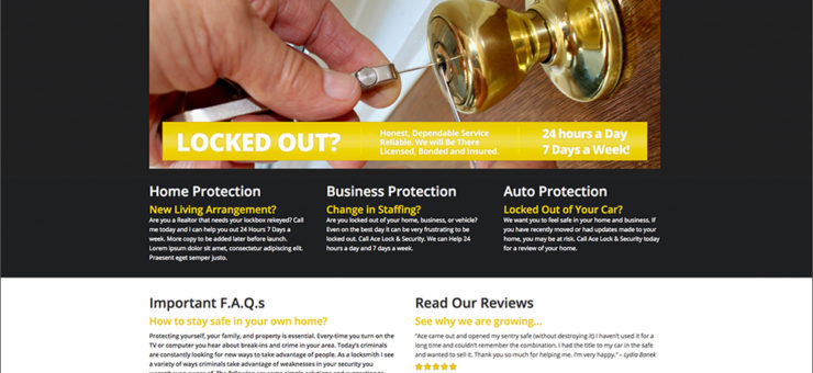 Ace Lock Security Website Design