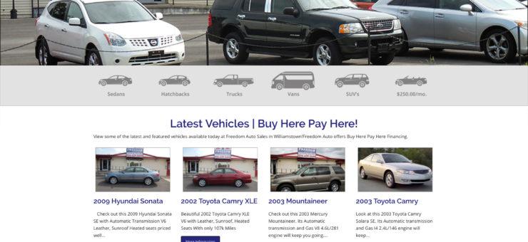 Freedom Auto Website Design
