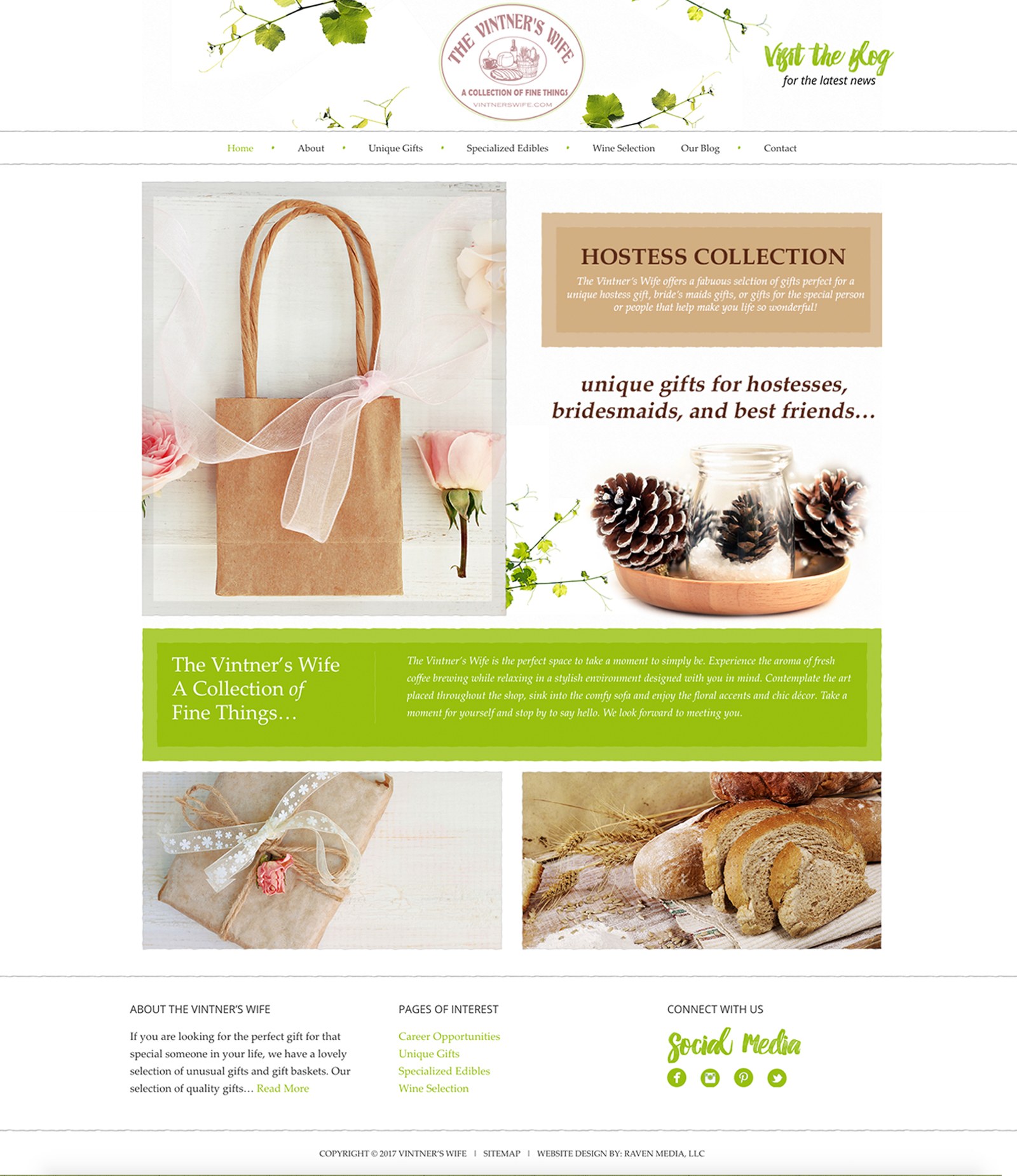 The Vintner's Wife Website Design