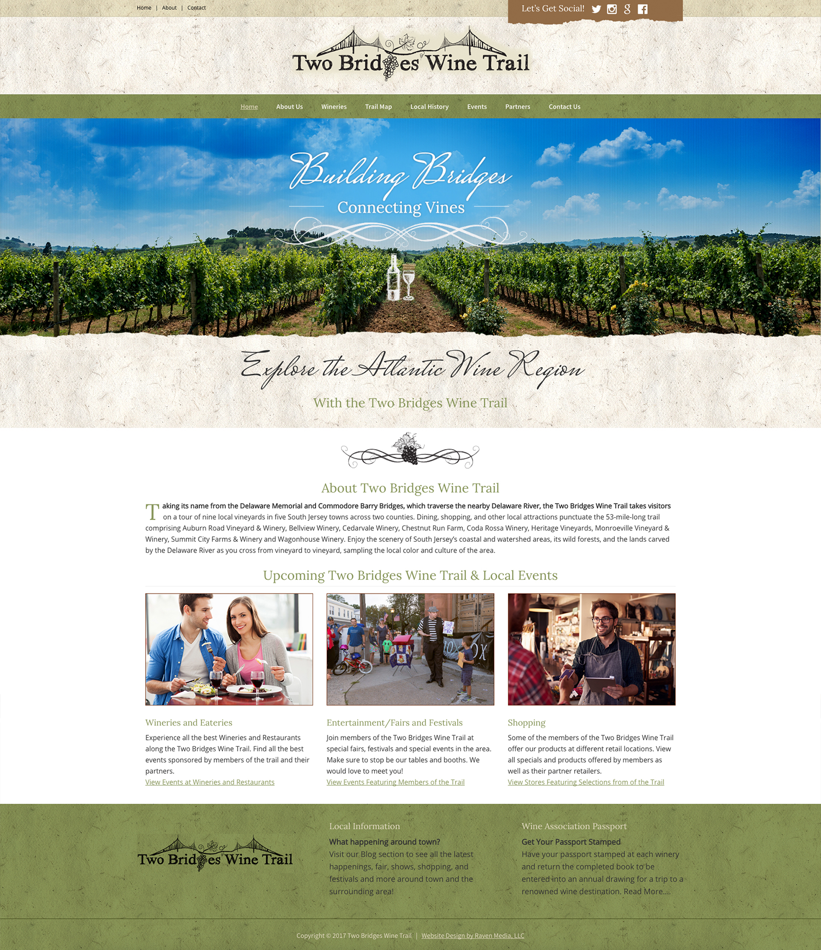 Two Bridges Wine Trail Website Design Project